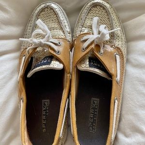 Rare Gold Sequin Sperry Shoes 7 1/2